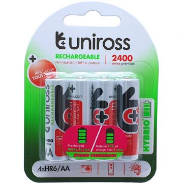 Uniross Hybrio AA 2400 mAh 1.2V Ni-MH Rechargeable Batteries